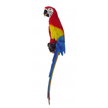 Perroquet rouge, bleu et jaune à accrocher 70 cm - Décoration de façade.