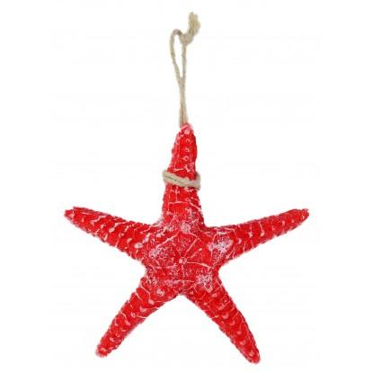 Étoile de mer 5 branches en résine 13 cm rouge.