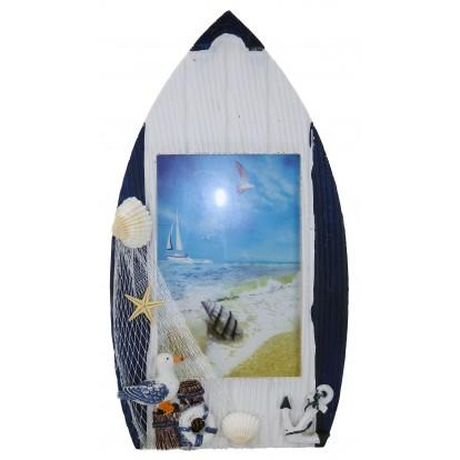 Cadre photo en forme de barque à poser avec filet de pêche blanc, modèle A.