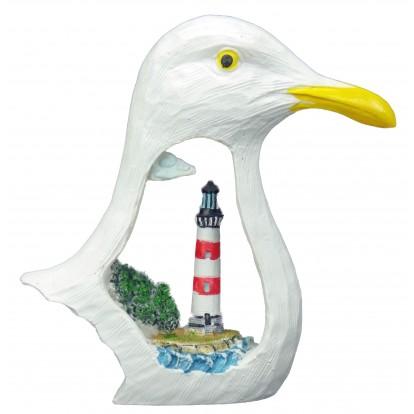 Tête de mouette avec un phare marin rouge et blanc.