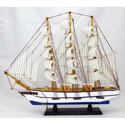 Maquette voilier 3 mâts 50 cm coque blanche et bleue, modèle A.