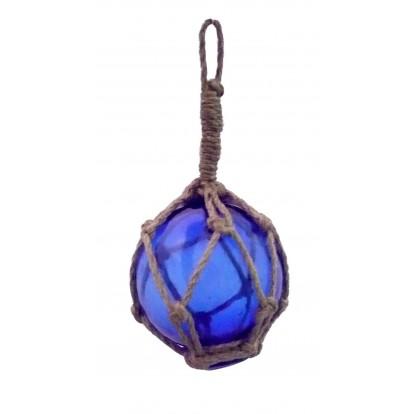 Flotteur en verre bleu 12 cm, décoration marine.