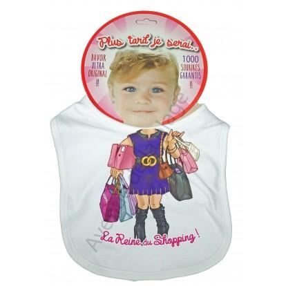 Bavoir bébé humoristique Reine du Shopping