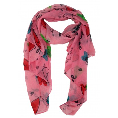 Foulard Peace and Love rose.