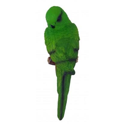 Perruche, Perroquet à accrocher 21 cm, vert.