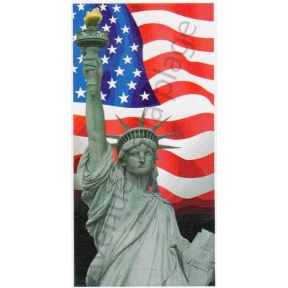 Serviette de plage Drapeau Américain et statue de la liberté.