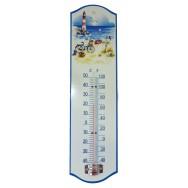 Thermomètre métal paysage marin : la Plage