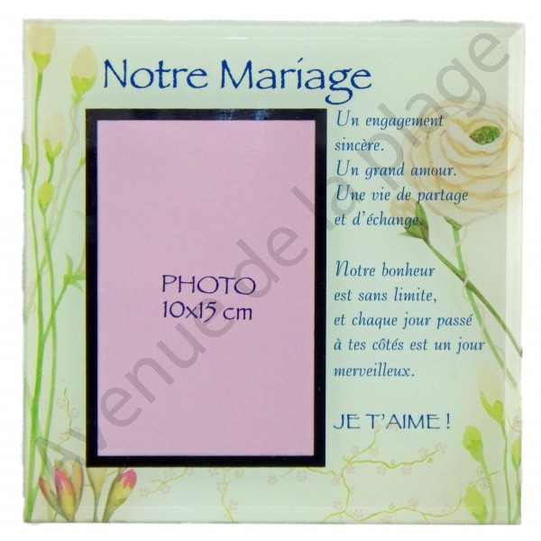 Cadre photo message notre mariage achat vente avenue de la plage - Cadre photo mariage personnalise ...