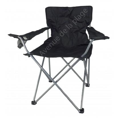 Siège de plage, chaise de camping pliable, noir.