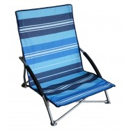 Chaise de plage basse pliante bleue.