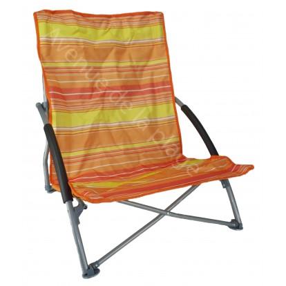 Fauteuil de plage bas pliant orange.