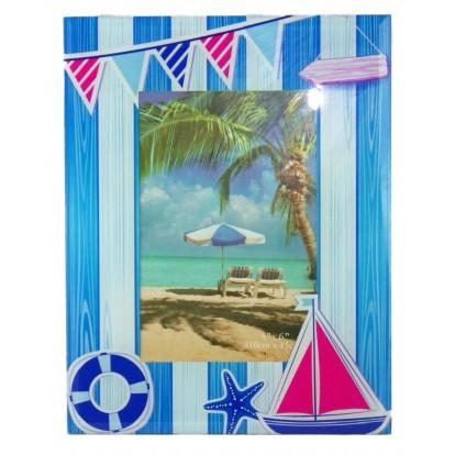 Cadre photo en verre décor marin, modèle A.