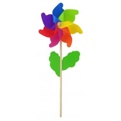 Moulin à vent fleur multicolore 21 cm