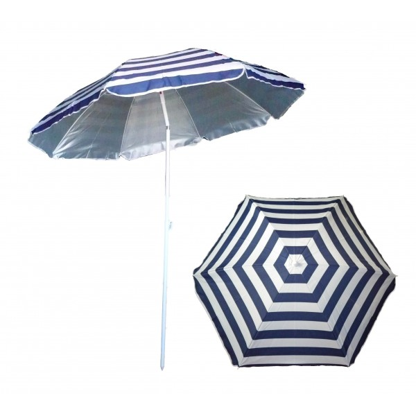Parasol de plage anti uv ray bleu blanc marini re - Parasol anti uv 50 ...