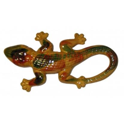 Lézard marron en céramique à accrocher, décoration de jardin.