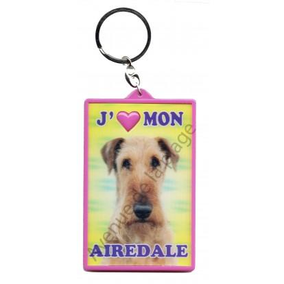 Porte clé 3D J'aime mon Airedale