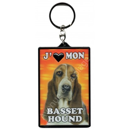 Porte clé 3D J'aime mon Basset Hound