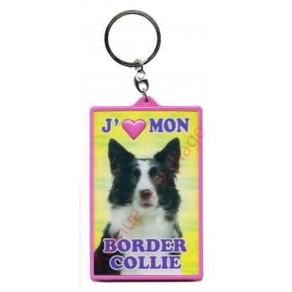 Porte clé 3D J'aime mon Border Collie