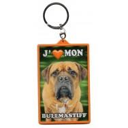 Porte clé 3D J'aime mon Bullmastiff