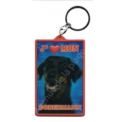 Porte clé 3D J'aime mon Dobermann