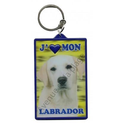 Porte clé 3D J'aime mon Labrador beige.