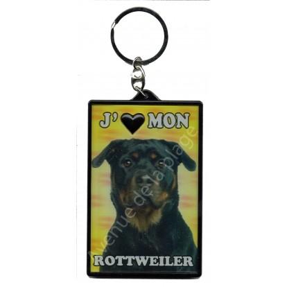 Porte clé 3D J'aime mon Rottweiler, modèle A.