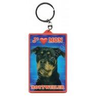 Porte clé 3D J'aime mon Rottweiler