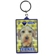 Porte clé 3D J'aime mon Teckel