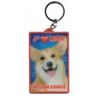 Porte clé 3D J'aime mon Welsh Corgi