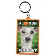 Porte clé 3D J'aime mon Whippet