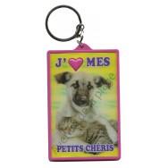 Porte clé 3D J'aime mes Petits Chéris - Chien et chat