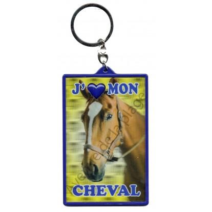 Porte clé 3D J'aime mon Cheval marron.