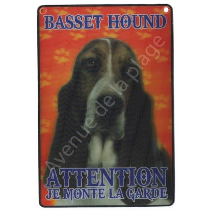 Plaque 3D Attention je monte la garde - Basset Hound