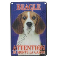 Plaque 3D Attention je monte la garde - Beagle