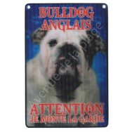 Plaque 3D Attention je monte la garde - Bouledogue Anglais