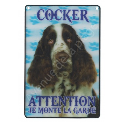 Plaque 3D Attention je monte la garde - Cocker marron