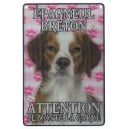 Plaque 3D Attention je monte la garde - Epagneul Breton