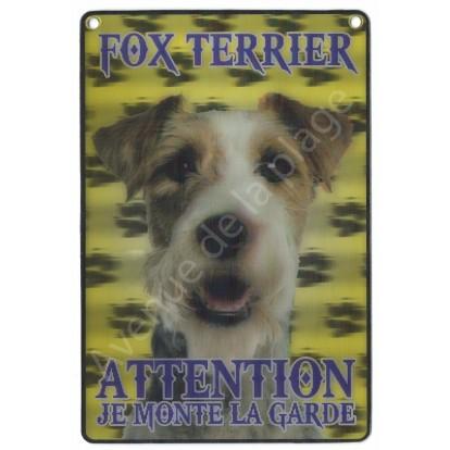 Plaque 3D Attention je monte la garde - Fox Terrier