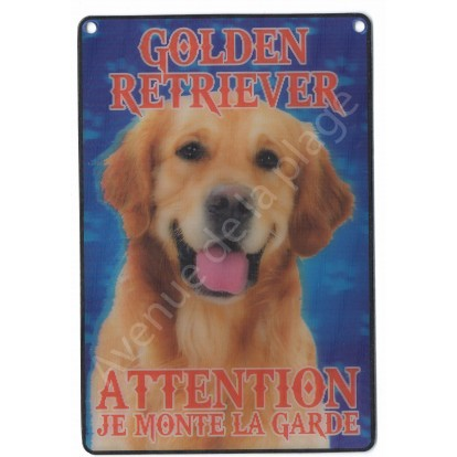 Plaque 3D Attention je monte la garde - Golden Retriever - Modèle A.