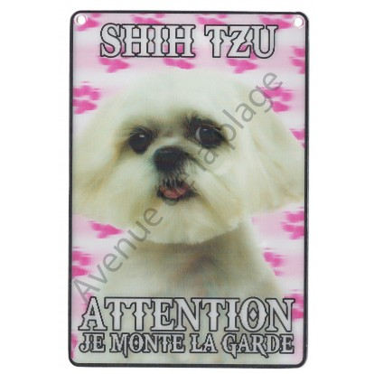 Plaque 3D Attention je monte la garde - Shih Tzu