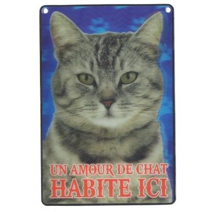 Plaque 3D Un Amour de Chat gris habite ici, modèle B.
