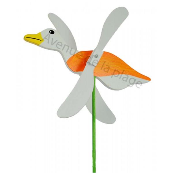 Moulin vent mouette en bois avec ailes qui tournent d co de jardin - Faire peur aux oiseaux jardin ...