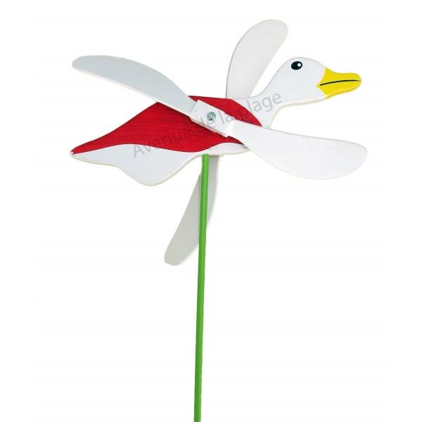 moulin vent mouette en bois avec ailes qui tournent d co de jardin. Black Bedroom Furniture Sets. Home Design Ideas