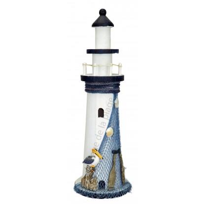 phare d coratif 40 cm en bois esprit marin pas cher