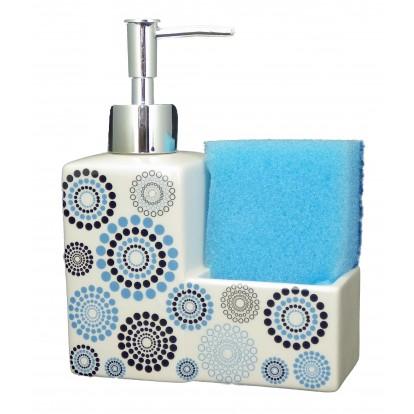 Distributeur de savon avec porte éponge bleu