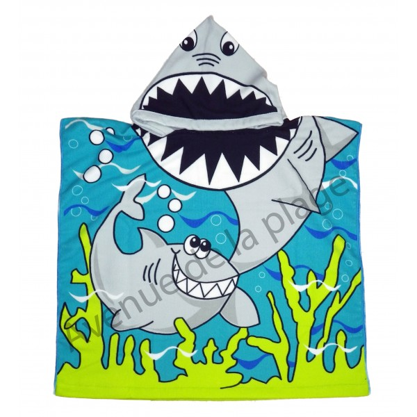 poncho cape de bain requin en microfibre pas cher avenue de la plage. Black Bedroom Furniture Sets. Home Design Ideas