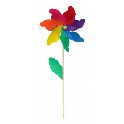 Moulin à vent fleur 42 cm - Décoration de jardin