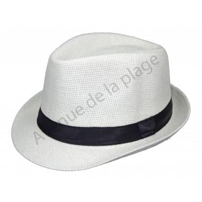 Chapeau style borsalino blanc en paille - Accessoire de mode