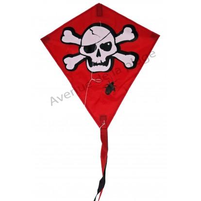 Cerf-volant pirate losange rouge et tête de mort.
