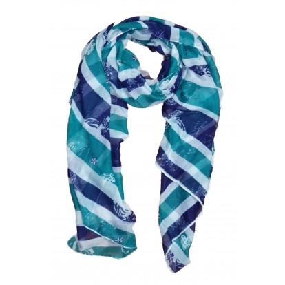 Foulard rayé marinière bleu, blanc, vert et motifs marins